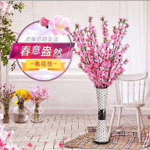 Wholesale artificial peach blossom oriental cherry False branches sitting room decorate Wedding artificial flowers false blossom