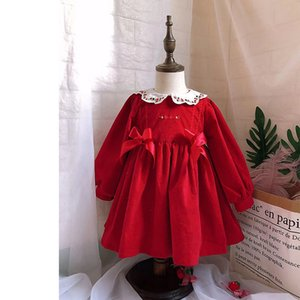 Wholesale UK Spain style new Girls clothing Spanish retro red dress festive elegant dress Pet Pan Collar embroidered antique skirt autumn corduroy