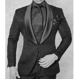 Wholesale Black Mens Wedding Tuxedos Pieces Floral Pattern Groom Wear Business Double Breasted Slim Fit Men Blazer Jacket Pants Vest