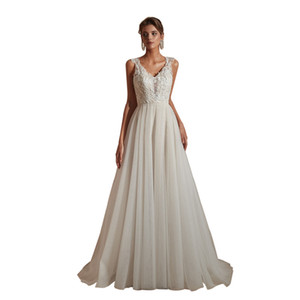 Wholesale dresses tull resale online - Cheap A line Long prom Dresses New Sleeveless Floor Length Tull Lace Applique Illusion Formal Evening Dress Party Gowns Custom Made