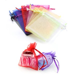Wholesale Mix Colors 16colors 7x9cm 9*12mm 100pcs lot Small Organza Bags Favor Wedding Christmas Gift Bag Jewelry Packaging Bags & Pouches