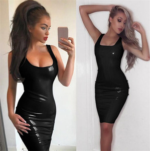 Wholesale New Sexy Cosplay Women Black Sexy Leather Dress Latex Club Wear Costumes Clothing PVC Lingerie Catsuits Cat Suits Sex Products
