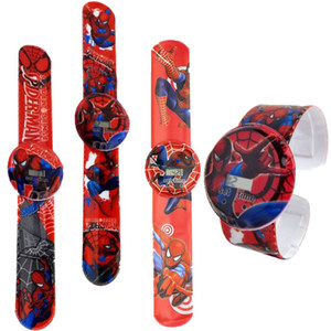Simple packing fashion kids children cartoon spiderman boys girls students slap digital watches christmas birthday gift watches
