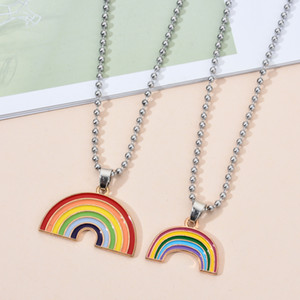 Alloy Enamel Love Rainbow Necklace Charms Cute Keychain Pendant Necklace Pendant For DIY Earring Accessories