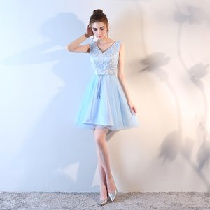 Wholesale dress graduation dress short skirt embroidered sleeveless waisted multi-layer short skirt backless sexy PROM dress Sky blue
