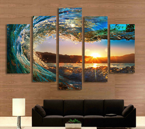 Wholesale 5 Combinations HD sea wave Sunset beautiful scenery Unframed Canvas Painting Wall Decoration Printed Oil Painting poster