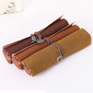 Wholesale PU Leather Pencil Case Hot Sale Retro Pirate Treasure Map Roll Up Pen Bags Make Up Holder gift