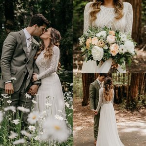 2020 Bohemian Lace Beach Wedding Dresses Long Sleeves Chiffon Country A-Line Backless Country Bridal Gowns Real Pictures Marige vestidos
