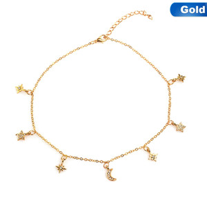 Wholesale New Personality Fashion Alloy Two Layers Moon Five Pointed Star Small Pendant Simple Women s Necklace