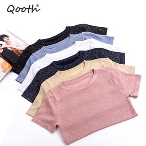 Wholesale Qooth Trendy Summer Autumn Women Casual Half Sleeve Sequins String Sweaters O neck Knitwear Loose Pullovers Jumper Pull QH1884