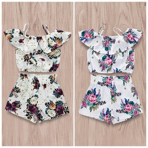 Wholesale Vieeoease Girls Sets Floral Kids Clothing 2019 Summer Straps Ruffle Top + Bow Shorts Children Outfits 2 pcs CC-409