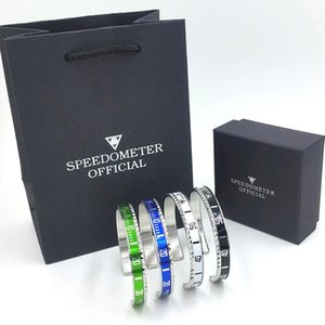 Wholesale Luxury Watch style Speedometer official Cuff Bracelet Stainless steel Women Mens Bangle Bracelets with Gift Box bags