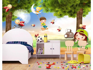 Wholesale playgrounds kids for sale - Group buy 3D Custom wall papers home decor photo wallpaper Beautiful forest scenery children s playground children s room kids room background mural