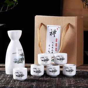 Wholesale Japanese Sake Set Pieces Sake Set Hand Painted Design Porcelain Pottery Traditional Ceramic Cups Crafts Wine Glasses Gift Box