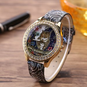 Wholesale Saatleri Male And Female Universal Cartoon Owl Couple Models Diamond Quartz Watch mens watches top brand Masculino Relo