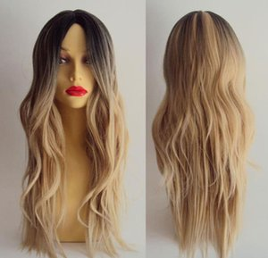 ePacket free shipping Women Long Curly Wavy Hair Full Wig Cosplay Black Root Ombre Blonde Costume