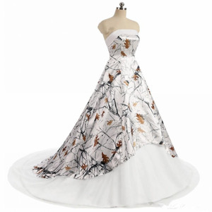 White Camo Wedding Dresses 2019 Strapless Lace-up Corset back realtree camouflage Boho Beach Country Bridal Wedding Gowns Custom Made