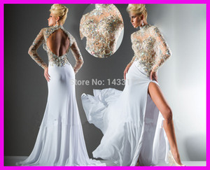 fast shipping in stock open leg backless high neck long sleeves sexy handmade beading crystal chiffon cheap gold prom dresses