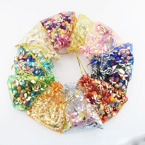 100pcs lot Luxury wedding favor jewellery Christmas rose candy color organza gift bags candy bags packing pouches on Sale