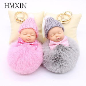 Wholesale Gold Key Chain Pom Pom Key Ring Fake Rabbit Fur Ball KeyChain Pompom Sleeping baby doll Fourrure Pompon Women Bag Charms Jewelry
