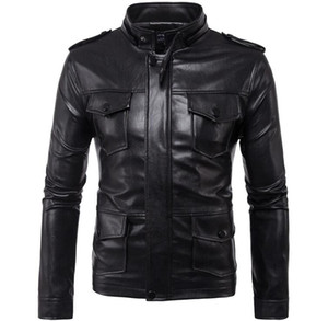 Europe and the United States motorcycle embroidery leather jacket simple fashion leather jacket men's motorcycle riding leather jacket cool