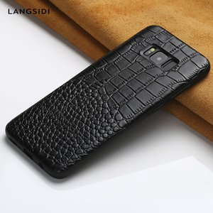 Genuine Leather Phone Case For Samsung Galaxy S8 Plus S9 Note 8 9 S7 Edge S10 A8 A7 J7 Calf Leather Crocodile Texture Back Cover T190710