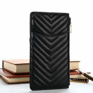 Wholesale Luxury Fashion Brand Designer Multifunctional Rhombus Lattice HandBag Lambskin Leather Zipper Wallet Card Bag Phone Pouch For iPhone Samsung