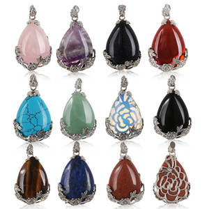 Natural Multicolor Unisex Quartz Crystal Stone Teardrop Inlaid Flower Healing Gemstone Necklace Pendant Diy Craft Home Decor C19041101