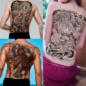 ingrosso dragon tattoo sticker-Big grande tatuaggio temporaneo drago Buddha Tiger Sticker Fashion Big posteriore completa petto impermeabile Transfer Body Art Tattoo Paper Sticker D Design