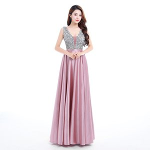 New V-Neck Beads Bodice Open Back A Line Long Evening Dress Party Elegant Vestido De Festa Fast Shipping Prom Gown on Sale