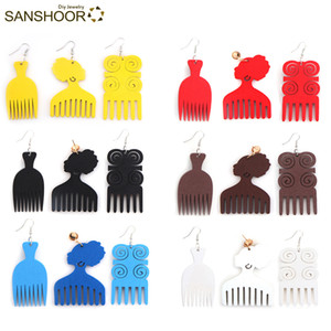 SANSHOOR Wholesale Mixed AFRO Comb Wood Drop Earrings African Ethnic Woman Head Earrings Jewelry 18Pairs
