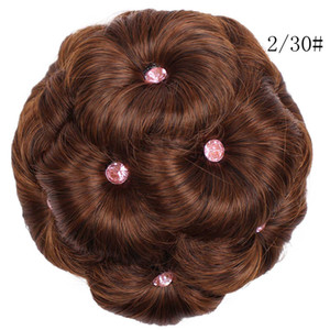 Wholesale 13cm brown Female Wig Hair Ring Curly Bride Makeup Diamond Bun Flowers Chignon Hairpiece Wig For Black White Women Cosplay