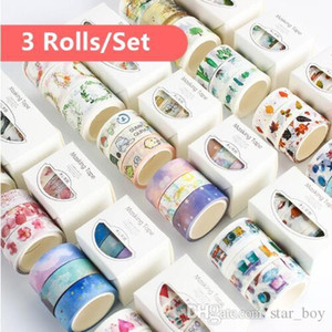 Wholesale 3 Rolls Pack Washi Masking Tape Set Petal Animal Flower Paper Masking Tapes Japanese Washi Tape Diy Scrapbooking Sticker Wall Art Tapes