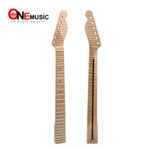 Wholesale 21 Fret Tiger Flame Maple Guitar Neck Replacement Maple TL Electric Guitar Neck with Abalone Dots Natural Glossy