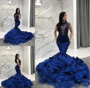 Wholesale Mermaid Prom Dresses 2019 Formal Evening Gowns Lace Applique Tiered Ruffles Beaded Vestidos De Fiesta Formal Party Dress robes de soiree