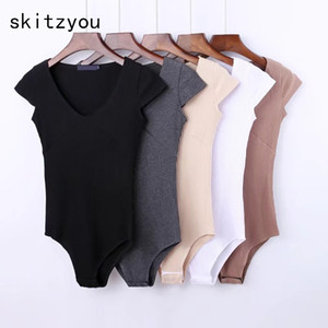 Wholesale Skitzyou Summer Sexy Short Sleeve Skinny Black Party Bodycon Bodysuit White V Neck Beach Rompers Womens Jumpsuit Gray Overalls C19040301