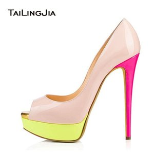 Wholesale 2017 Sweet Women Patchwork Patent Leather Skyhigh Party Shoes Colorful High Heel Evening Peep Toe Stiletto Platform Pumps