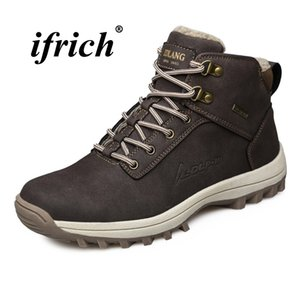 Man Outdoor Boots Large Size 39-48 Mens Winter Fur Boots Black Light Brown Mountain Men Lace Up Tracking Sneakers #97055