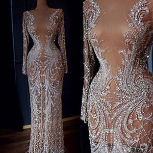 Wholesale Dubai Designer Luxury Illusion Sexy Evening Dresses Nude Long Sleeve Beading Sequined Evening Gowns Real Photo LA60775
