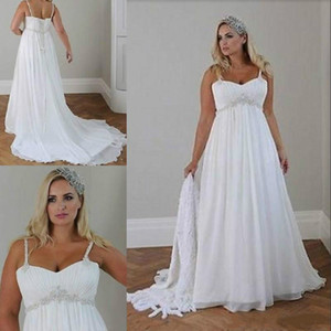 Wholesale plus size casual beach wedding dresses for sale - Group buy Plus Size Casual Beach Wedding Dresses Spaghetti Straps Beaded Chiffon Floor Length Empire Waist Elegant Bridal Gowns