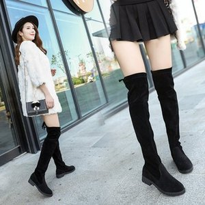 Wholesale 2019 HOT Women Boot High Boots Suede Leather High Heels Over The Knee Warm Snow Female Boots Fashion Wedding Shoes Boot Women