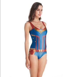 2019 Wholesale Bikini Marvel The Avengers 4 Surprise captain Cosplay Costume Bikini swim suit DROP SHIP