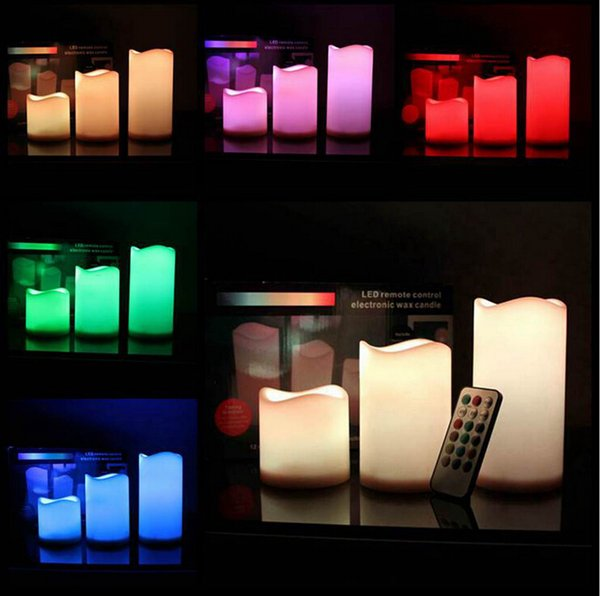 LED Flameless Remote Control 12 Color-changing Led Candle Light Set Romantic Candle Lamp Wedding gift Christmas Decoration 3 size