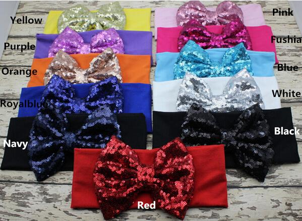 New 5.3 inch Big Sparkle Bow Headbands for Girl Hair Accessories Fashion Sequin Bow Head wrap Baby Top Knot Headband 20pcs,11 colors