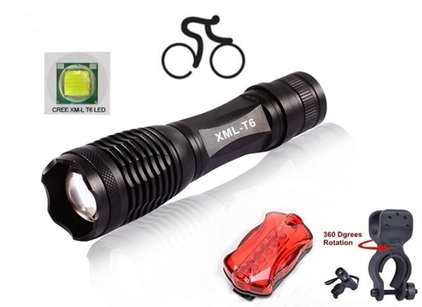 ALONEFIRE 1set E007 CREE XM-L T6 LED 3800Lumens Zoomable bicycle bike Cycling light Flashlight Torch lamp with clip/Tail lights