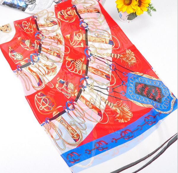 HWJ127 Nuove donne sciarpa morbida moda Sciabola stampa sciarpa di seta chiffon 6 colori. Alto livello. 160x50 cm. 30 pz / lotto DHL libero