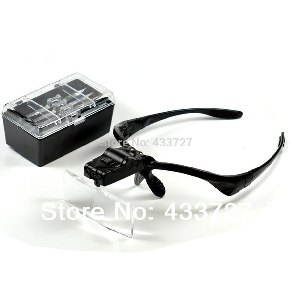 Free Shipping 5 Lens 1.0X1.5X2.0X2.5X3.5X Head Headband LED Headlamp Lighted Magnifying Magnifier Glass Function Loupe - RUA