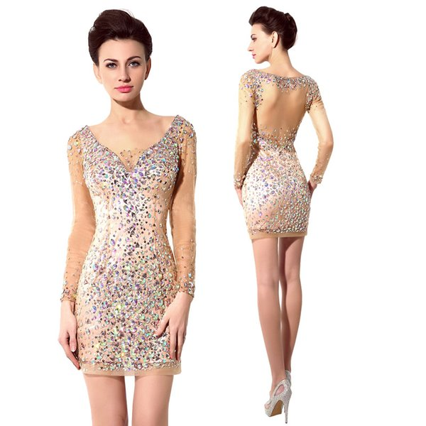 Champagne Short Prom Dresses 2015 Luxury Sparkly Colored Crystal ...