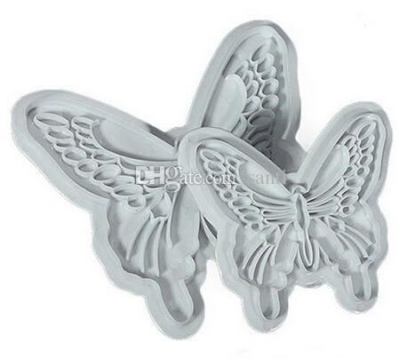 New Arrive 2pcs/lot Butterfly Cake Fondant Decorating Sugar craft Cookie Plunger Cutters Mold
