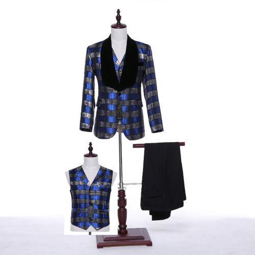 Blue Striped Plaid Men Wedding Suit Groom Tuxedo Bridegroom Business Formal Suit (jacket + pants + vest) custom made